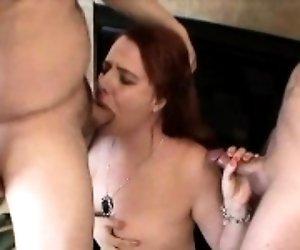 Big boobs redhead gagging...